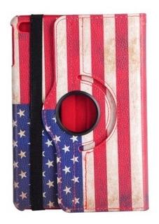 Funda iPad Mini 4 Flip Giratoria 360° Banderas Usa Uk