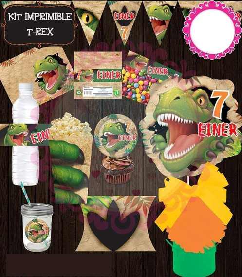 Kit Imprimible Dinosaurio T-rex | Candy Bar | Deco | Cumple