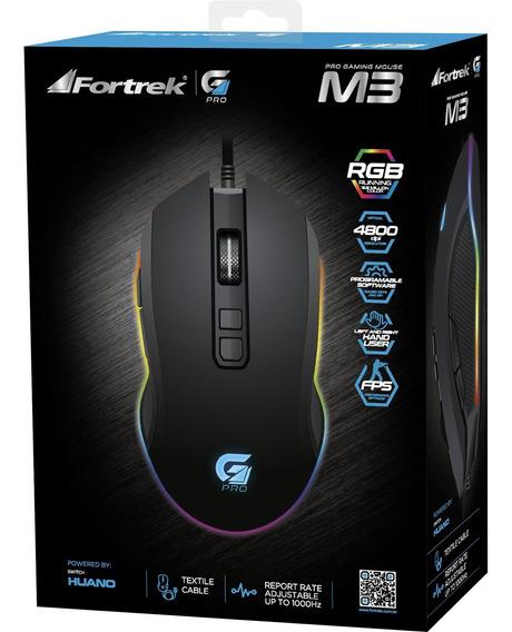 Mouse Gamer Pro M3 Rgb Folheado A Ouro Filtro Magnético