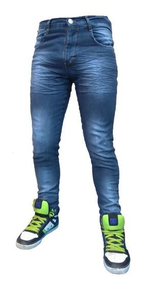 Jean Chupin Azul Localizado Hombre Elastizado Pantalon