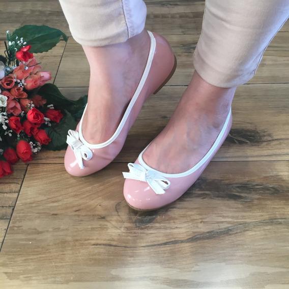 Sapatilha Rasteirinha Feminina Rose Com Vivo Branco Confort Luxo Cds