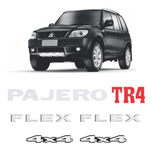 Imagem 1 de 6 de Kit Emblemas Pajero Tr4 Flex 4x4 Prata Adesivos Resinados