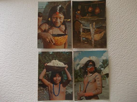 3295-lote 4 Postal Indigenas Brasil Nativos, Mercator