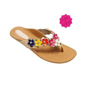 Sandália Rasteirinha Bordada Multicolor Flores Mãe E Filha