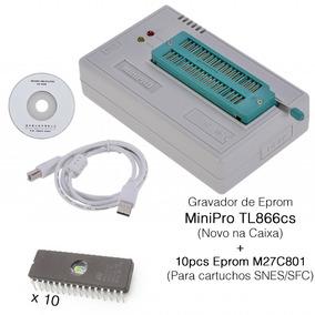Gravador Minipro Tl866cs + 10pcs Eprom M27c801 Para Snes Sfc