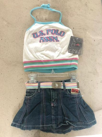 Falda De Mezclilla Y Camiseta Para Niña