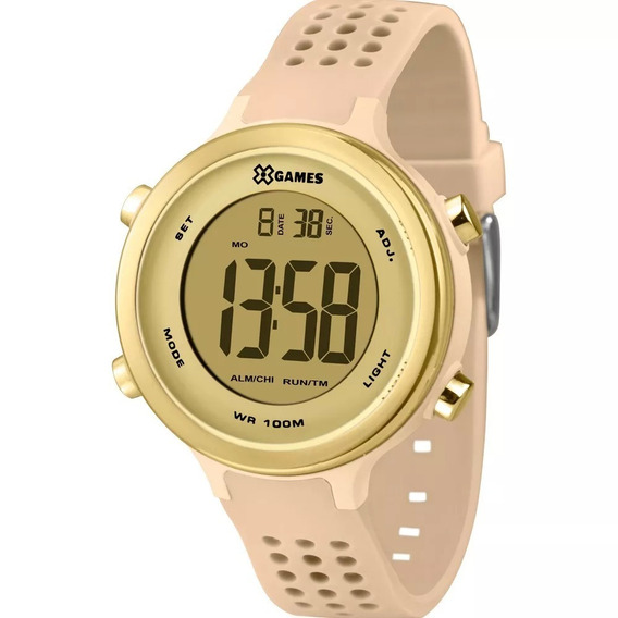 Relógio Feminino Digital Esportivo Bege E Dourado Silicone