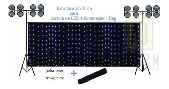 Pedestal Tripé Gol Iluminação Dj+barra P/ Cortina De Led+bag