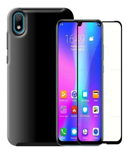 Funda Estuche Antichoque + Vidrio 5d Huawei Y5 2019