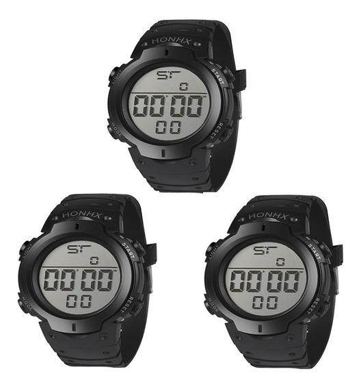 Kit 3 Relógio De Pulso Masculino Led Digital Atacado Revenda