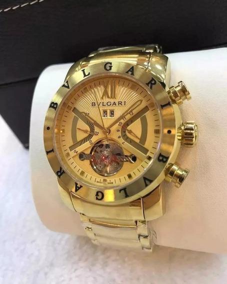 Relógio Bv Masculino Iron Man Dourado Automatico Outlet Real