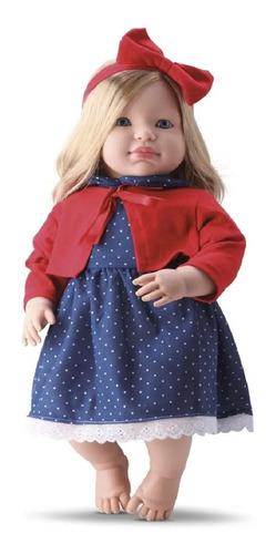 Imagem 1 de 3 de Boneca Bebe Tipo Reborn Grande 53cm Loira Cabelo Longo