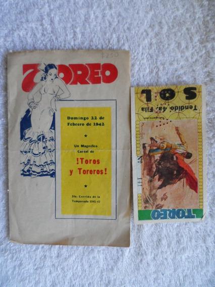 Cartel Taurino Original Y Boleto El Toreo 1942 Silverio