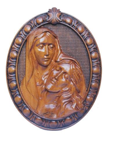 Quadro Jesus E Maria De Madeira, Esculpido Alto Padrão