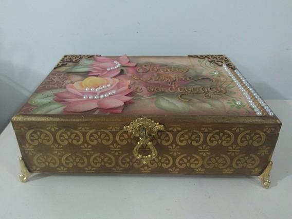 Elegante Caixa (mdf) Decorativa Multiuso Marrom