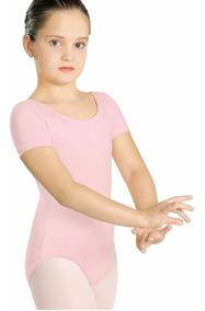 Collant Capezio Meia Manga Ballet - Rosa / Preto - Infantil