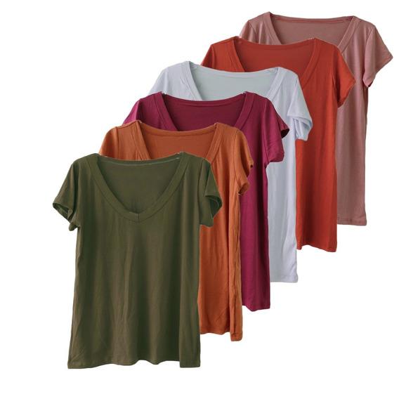 Kit 3 Blusa T Shirt Camiseta Decotada Feminina Podrinha