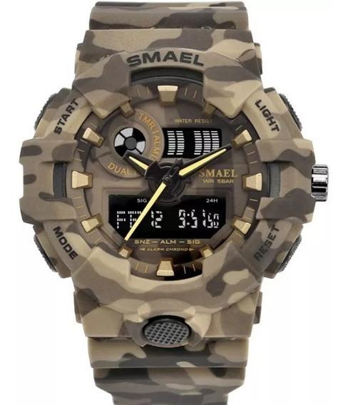 Relógio Militar Smael Original Camuflado Prova D