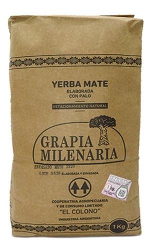 Imagen 1 de 7 de Yerba Mate Grapia Milenaria 20 Paquetes X 1/2 Kg.