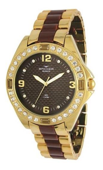Relógio Backer Feminino Dourado E Marrom 3969134f Mr