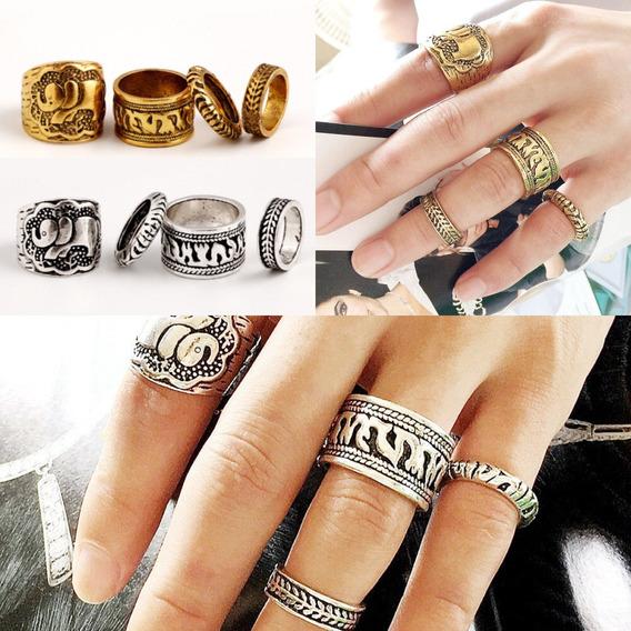 4 Anéis Dourados + 4 Anéis Prateados (tribal) Frete Grátis