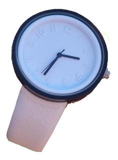 Reloj Hombre Quartz Big Bent Blanco Ecocuero Moderno