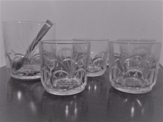 Juego De Whisky 4 Vasos Con Hielera Y Pinza