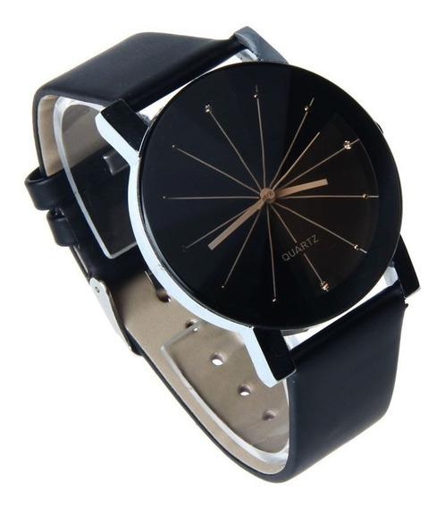 Relógio Feminino Bonito, Barato E Elegante Preto Couro