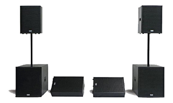 Kit Caixa Ativa+passiva+subwoofer+monitores Mark Audio Attak