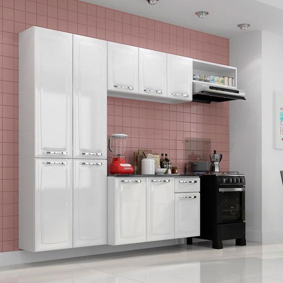 Cozinha Aço Branca Compacta C/ Tampo Armário Aéreo Gabinete