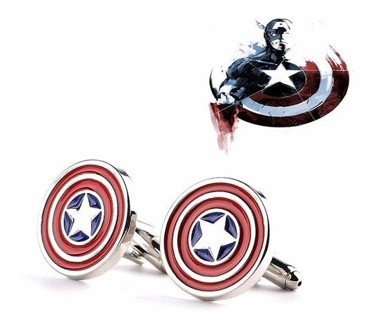 Abotoadura Capitão América Escudo