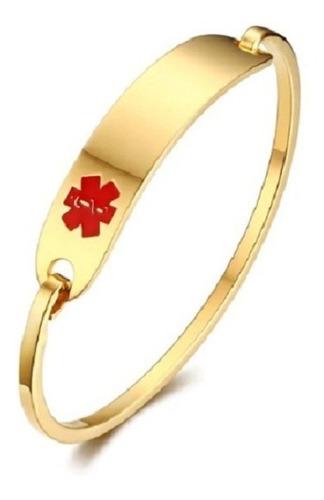 Imagem 1 de 10 de Bracelete Feminino Alerta Médico Em Aço Inoxidável Dourado