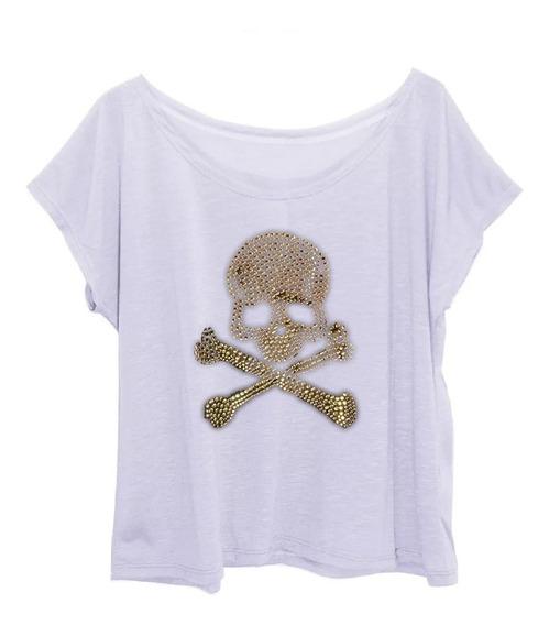 Blusa Tshirt Feminina Plus Size Estampa Strass Caveira Metal