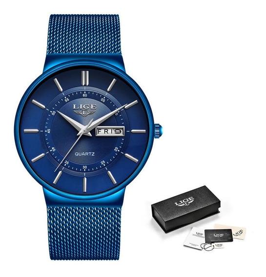Relógio Masculino Lige 9949 Slim Casual Original Oferta Nf-e
