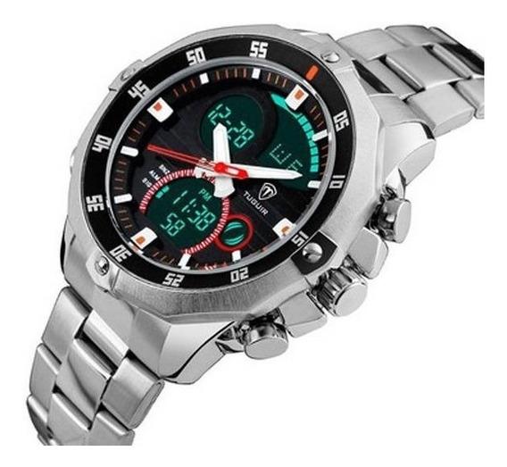 Relógio Masculino Original Grande Prata Aço Anadigi C/ Nf