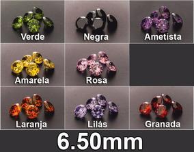 10 Zircônias Redondas Várias Cores 6.50 Mm