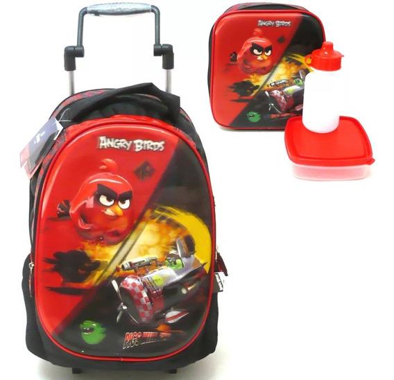 Kit Escolar Mochila + Lancheira Angry Birds 5d Santino