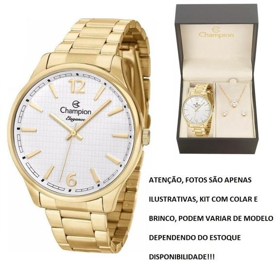 Relógio Champion Feminino Dourado Com Kit Cn27670w