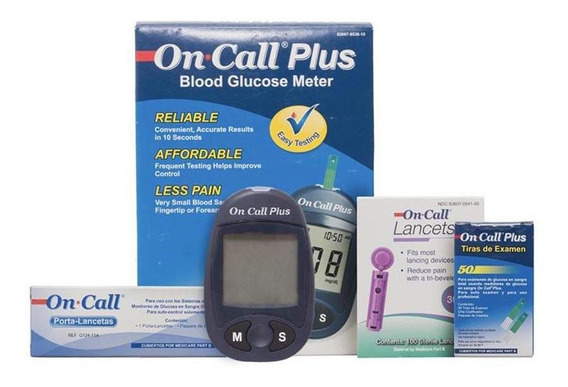Oferta Glucometro On Call Plus + 115 Lancetas + 50 Tiras Rea