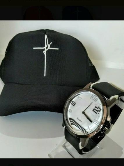 Kit 10 Relógios Masculino Silicone + 10 Bonés Telinha Aba