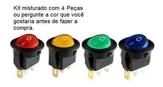 Botão Chave Luz Interruptor 3 Pinos 110/220v 4 Peças C/ Fios
