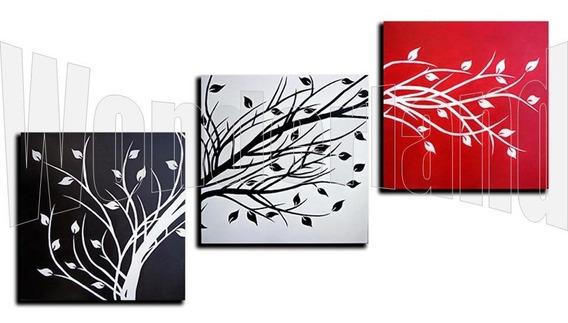 Cuadros Abstracto Triptico Moderno Decorativo Pintado A Mano