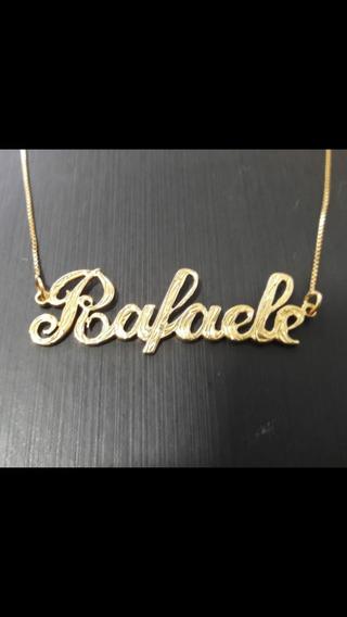 Gargantilha Entalhe Em Ouro 18k Confecciono Seu Nome.