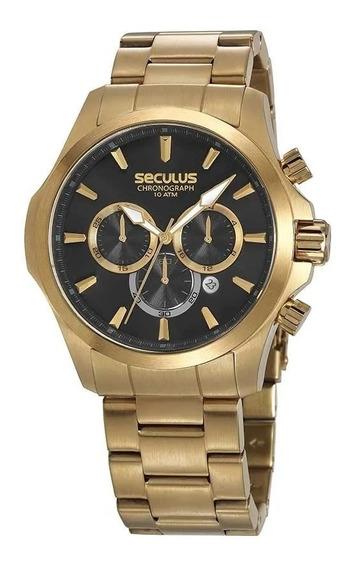 Relógio Masculino Seculus Dourado 13028gpsvda1 Cronógrafo