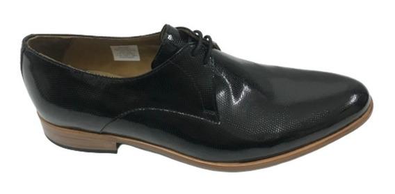 Zapatos Farenheite De Cuero Labrado Negro Suela De Madera