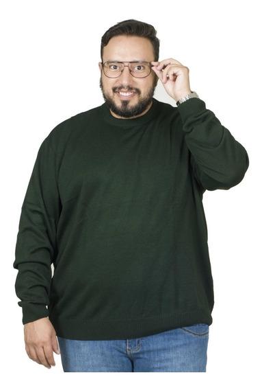 Malha Plus Size Bigshirts Gola Careca - Verde Musgo