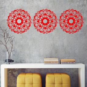 Trio De Mandalas Decorativa Pintada Mdf 60x60cm Mod4 Grande