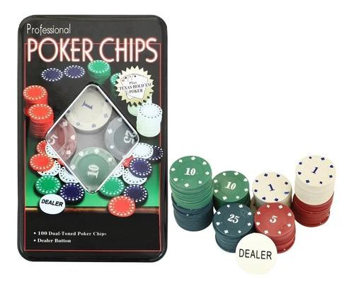 Poker Chips De 100 Fichas Estuche Lata Juego Casino Cg1021