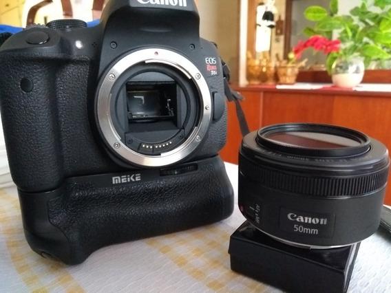 Canon T6i + Lente 50mm 1.8 Stm Canon + Grip Com 2 Baterias.