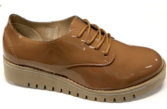 Sapato Feminino Beira Rio Oxford 4174 Verniz Anabela Baixo